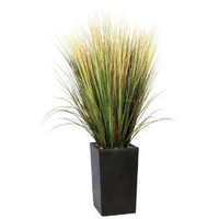 Laura Ashley Realistic Grass Floor Plant in Contemporary Stand, 60-Inch Tall
