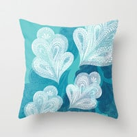 Falling Feathers Throw Pillow by Pixel Pop
