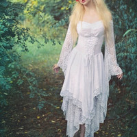Fairy Medieval Fantasy Shorter Wedding Dress Jagged Skirt Custom
