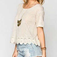 H.I.P. Crochet Trim Womens Crop Top