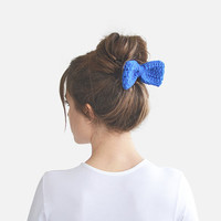 Blue hair bow, bow tie / Hand Crocheted