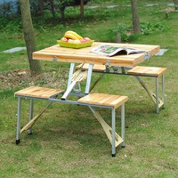 Outsunny Portable Folding Wooden Outdoor Camp Suitcase Picnic Table w/ 4 Seats