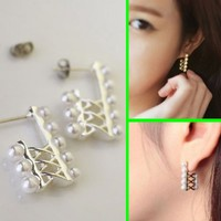 Crossing Line Pearls Wrapping Ear Cuffs