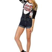 Papaya Clothing Online :: TRENDY OVER-RALL DENIM SHORTS