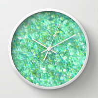 Ocean Mint Wall Clock by Lisa Argyropoulos
