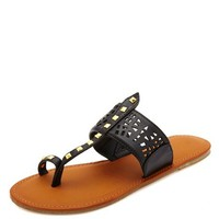 LASER-CUT STUDDED TOE LOOP THONG SANDALS