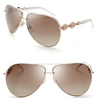 Gucci Chain Link Aviator Sunglasses with Crystals