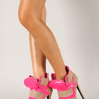Privileged Swag Neon Trim Lace Up Stiletto Ankle Bootie