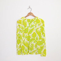 Yellow & Green Paisley Blouse Paisley Print Blouse Pleat Ruffle Collar Blouse Ruffle Blouse 70s Blouse 70s Hippie Blouse 70s Hippy M Medium