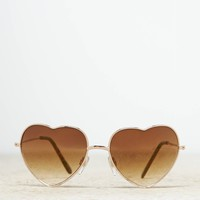 AEO Women's Heart Shaped Sunglasses (Gold)