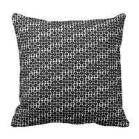 Black and white circles pattern throw pillow