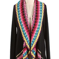 Multi Spring Color Black Crochet Cardigan Sweater