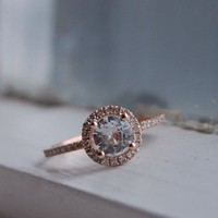 SALE White sapphire diamond ring a 14k rose gold by EidelPrecious