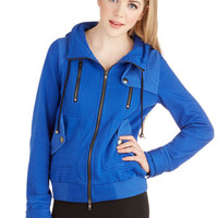 ModCloth Best Seller Short Long Sleeve Hoodie Leipzig Hoodie in Cobalt
