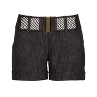 smart crosshatch belted shorts