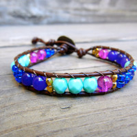 Beaded Leather Single Wrap Stackable Bracelet with Colorful Turquoise Purple Blue Magenta and Gold Glass Beads on Brown Leather for Spring