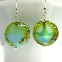 Aqua Light Apple Green Czech Glass Sterling by SiennaGraceJewelry