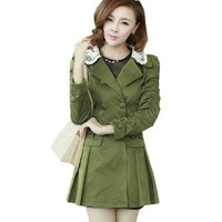 Fashion Womens Spring Korean Double-breasted Trench Coat Long Sleeve Loose Coat