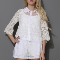 Grace White Lace Crochet Top and Shorts Set
