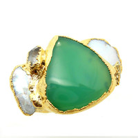 ON SALE Chrysoprase, herkimer diamond and keshi pearl ring - Gold dipped - Mint green - Size 6 - Statement ring