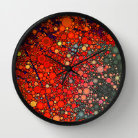 Happy - Tangerine Wall Clock by Olivia Joy StClaire