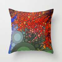 Happy - Tangerine Throw Pillow by Olivia Joy StClaire