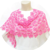 Lace Shawl, Lace Scarf, Pink, Prom dress shawl, Floral shawl, Pink flowers, Feminine, Free Ship, Wraps shawl, Wrap, French Lace Shawl