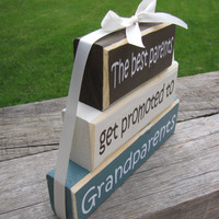 """Pregnancy Announcement. Wood Block Stack:""""The Best Parents Get Promoted to Grandparents"""" - Pregnancy announcement. GIft for Grandpa, Grandma"""