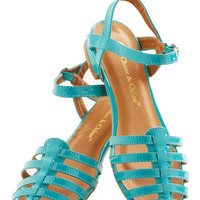 Wow the Crowd Sandal in Turquoise | Mod Retro Vintage Flats | ModCloth.com