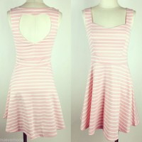 Blush Striped Skater Dress with Heart Cut Out Sizes S-M-L