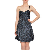 BCBG Maxazria Women's Animal Print Silk Pleated Cocktail Dress