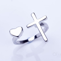 "Silver cross ring, heart ring, heart jewelry, Sideways Cross Ring, double ring, adjustable ring, stretch ring, religious ring, ""Telchines"""