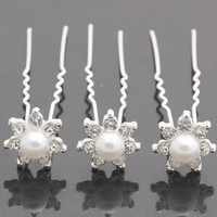 Clear Pearl Look Wedding Bridal Hair Pins Hairpins
