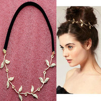 Fashion Gold Leaf Festival Garland Forehead Hair Band with Elastic