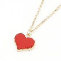 Fashion Red Glaze Heart Gold Pendant Necklace