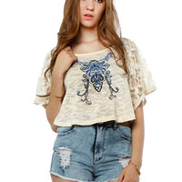 Papaya Clothing Online :: PAISLEY EMBROIDERY LACY SLEEVE CAPE TOP