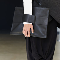 Leather Clutch In Black / Unisex Leather Bag / MacBook Air Leather Case / Minimalist Black Leather Bag by Arya Sense
