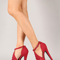 Shoe Republic Rucy Woven Peep Toe Stiletto Platform Heel