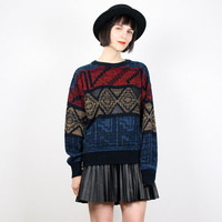 Vintage Cosby Sweater Black Red Gold Blue Sweater Pullover Jumper New Wave Geometric Southwestern Leather Knit 1980s 80s New Wave M Medium