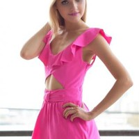 Hot Pink Playsuit with Cutout and Crisscross Back