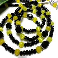 Id Badge Lanyard Necklace Black and Yellow Fashion Jewelry Handmade | PinkCloudsAndAngels - Accessories on ArtFire