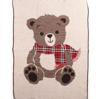 Charming Mr. Teddy Bear Throw Blanket