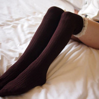 womens thigh high socks coffee wool knit boot socks with lace trim 29070011
