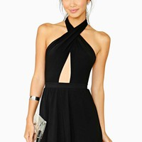 Black Halter Twist Front Dress