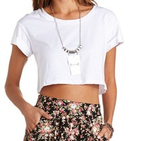 BOXY CUFFED SHORT SLEEVE CROP TOP