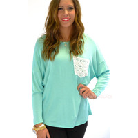 Manchester Mint Crochet Lace Pocket Top