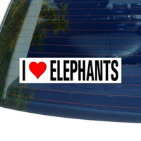 I Love Heart ELEPHANTS - Window Bumper Sticker
