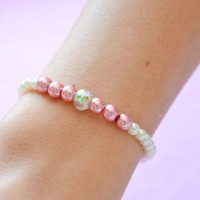 The Rose Garden: White Pearl, Rose Pearl, and Rose Painted Faceted Glass Bead Bracelet.