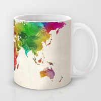 Watercolor Map of the World Map Mug by ArtPause