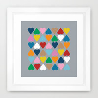 Diamond Hearts on Grey Framed Art Print by Project M